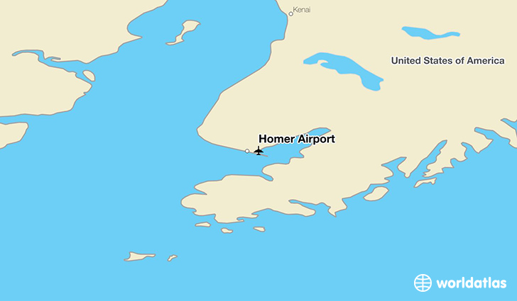Homer Airport location on a map