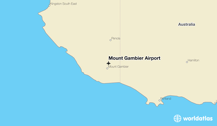 Mount Gambier Airport location on a map