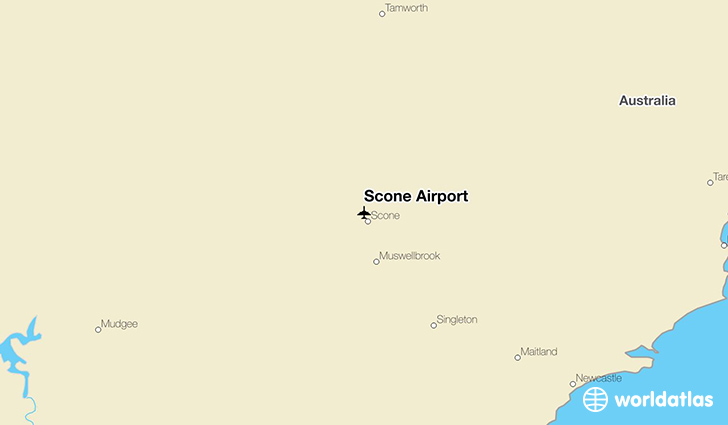 Scone Airport location on a map