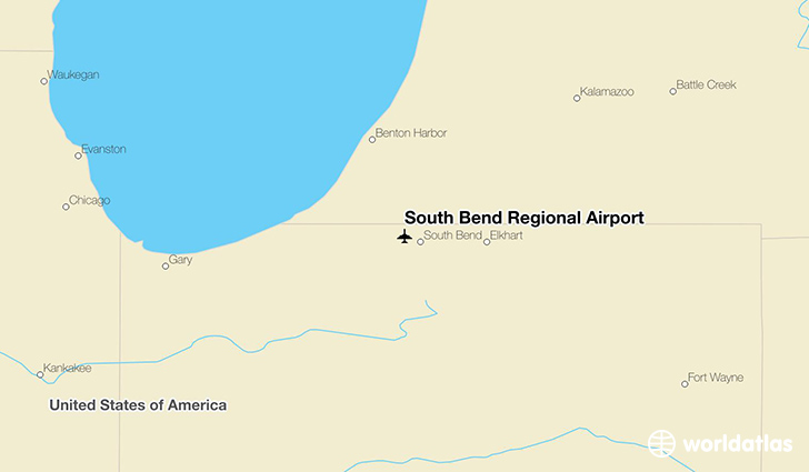 South Bend Regional Airport location on a map