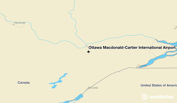Ottawa Macdonald-Cartier International Airport location on a map
