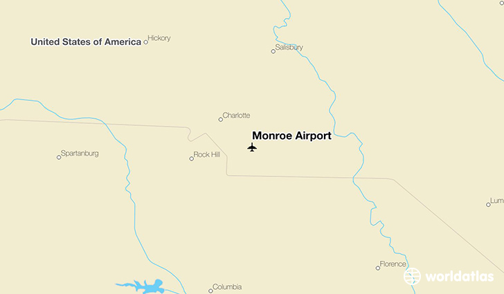 Monroe Airport location on a map