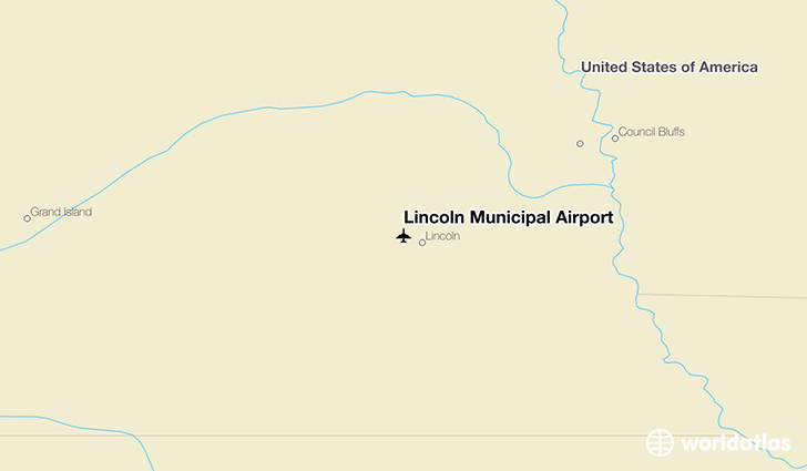Lincoln Municipal Airport location on a map