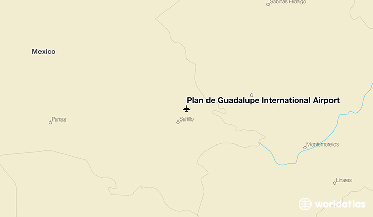Plan de Guadalupe International Airport location on a map