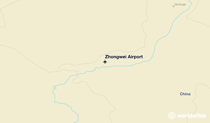 Zhongwei Airport location on a map