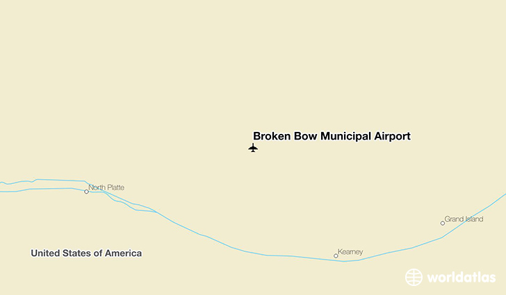 Broken Bow Municipal Airport location on a map