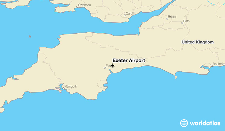 Exeter Airport location on a map