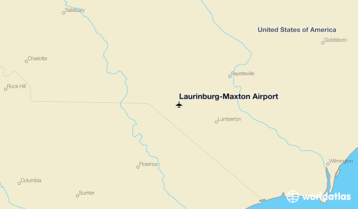 Laurinburg-Maxton Airport location on a map