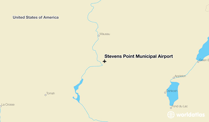 Stevens Point Municipal Airport location on a map