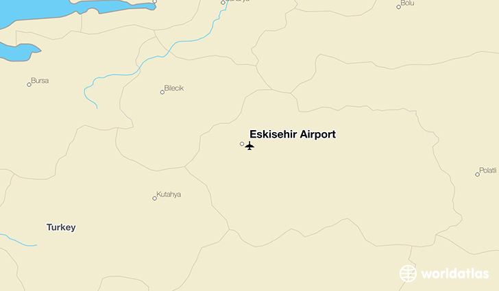 Eskişehir Airport location on a map