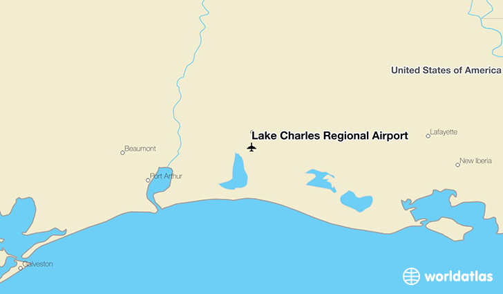 Lake Charles Regional Airport location on a map