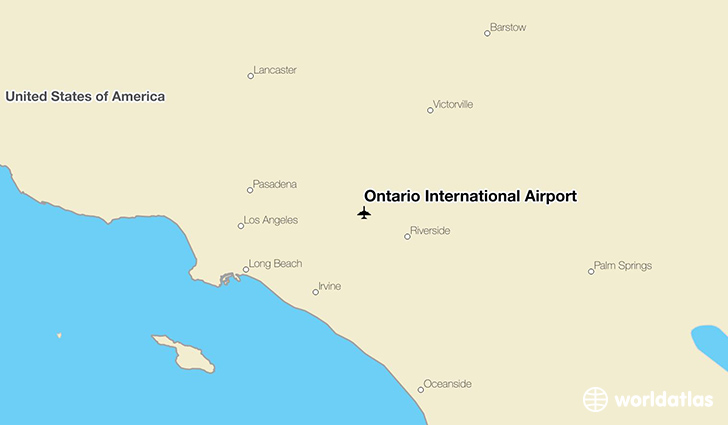 Ontario International Airport location on a map