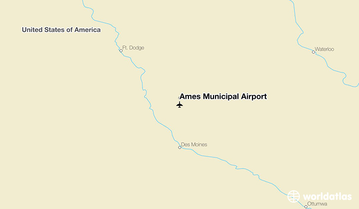 Ames Municipal Airport location on a map
