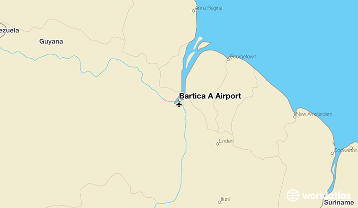 Bartica A Airport location on a map