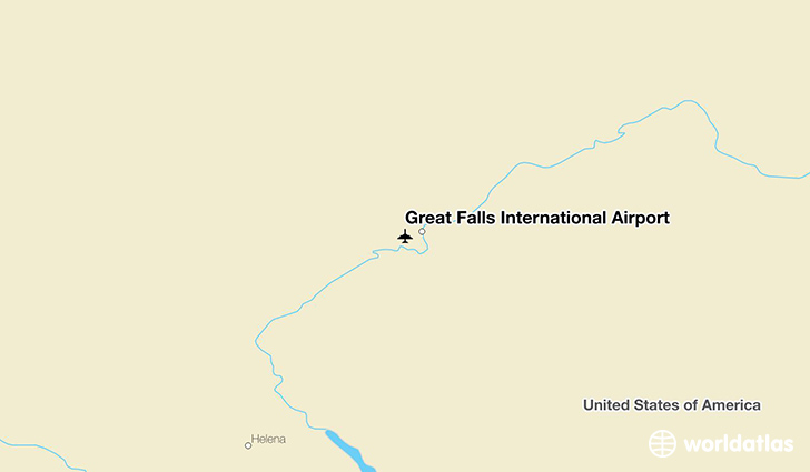 Great Falls International Airport location on a map