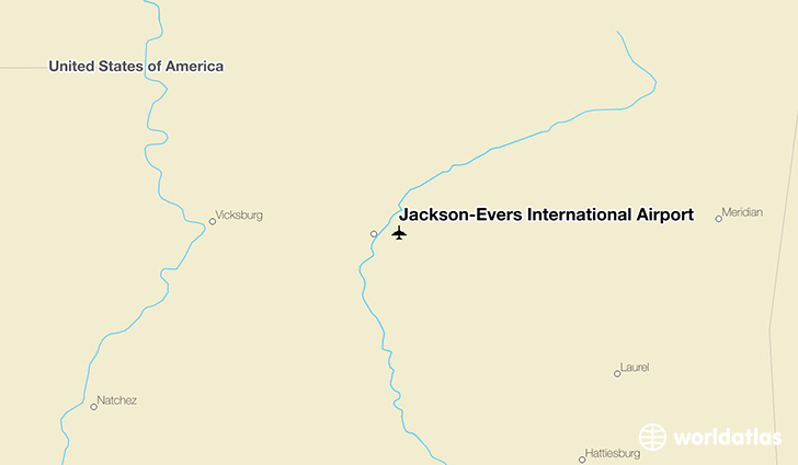Jackson-Evers International Airport location on a map