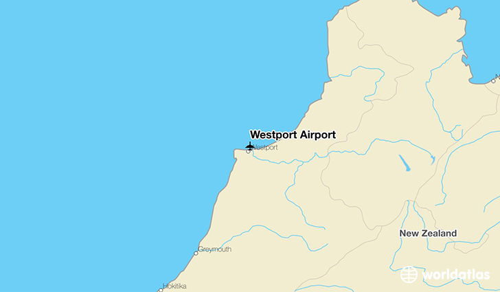 Westport Airport location on a map