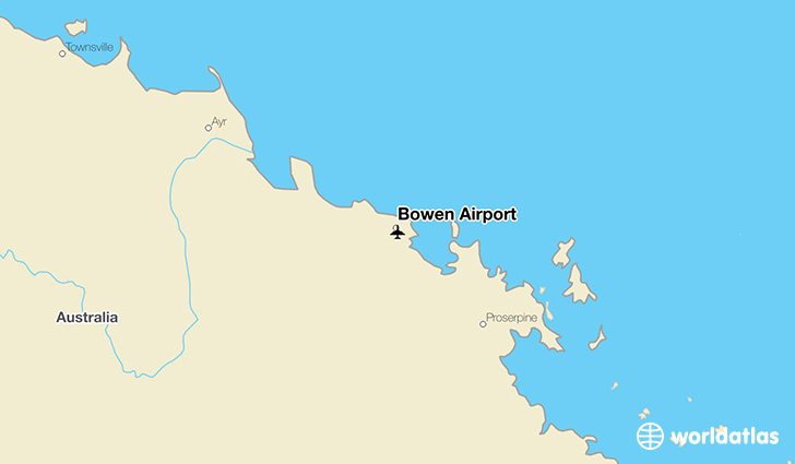 Bowen Airport location on a map