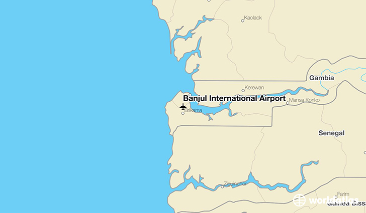 Banjul International Airport location on a map