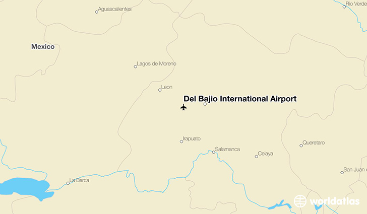 Del Bajío International Airport location on a map