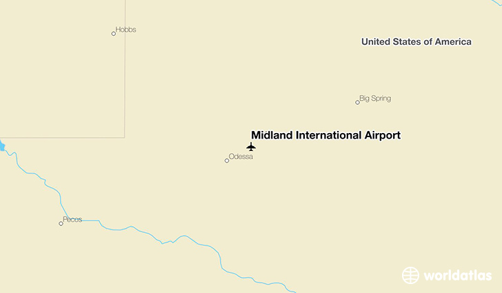 Midland International Airport location on a map