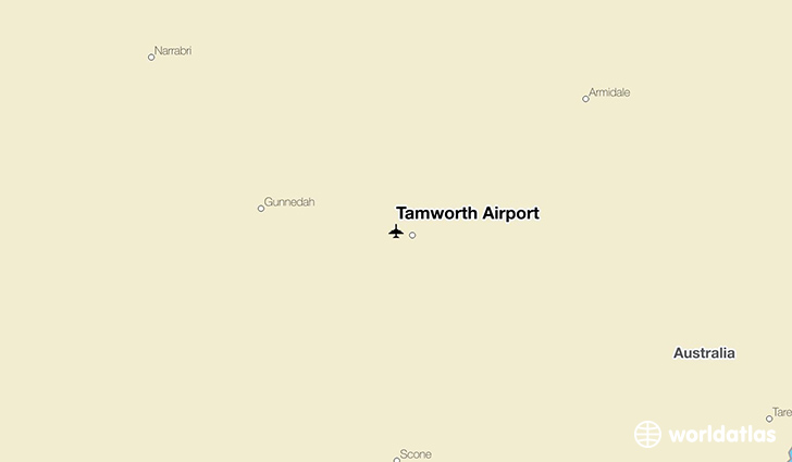 Tamworth Airport location on a map