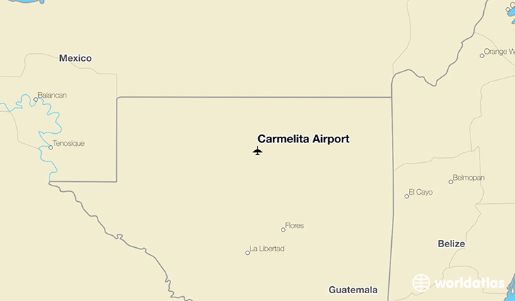 Carmelita Airport location on a map