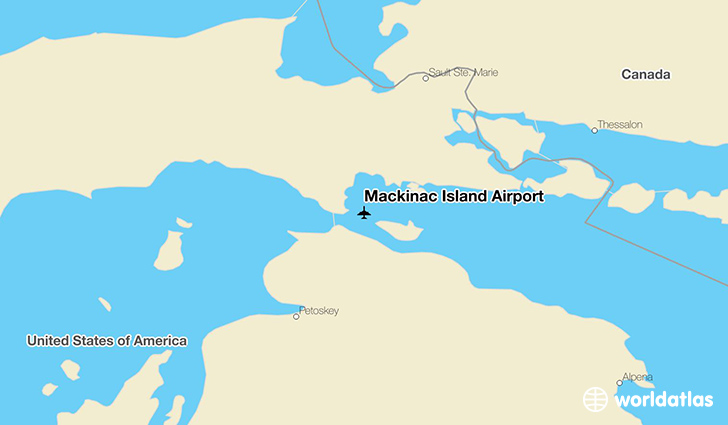 Mackinac Island Airport location on a map