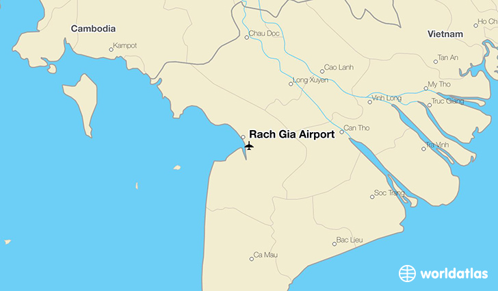 Rach Gia Airport location on a map