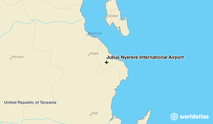 Julius Nyerere International Airport location on a map
