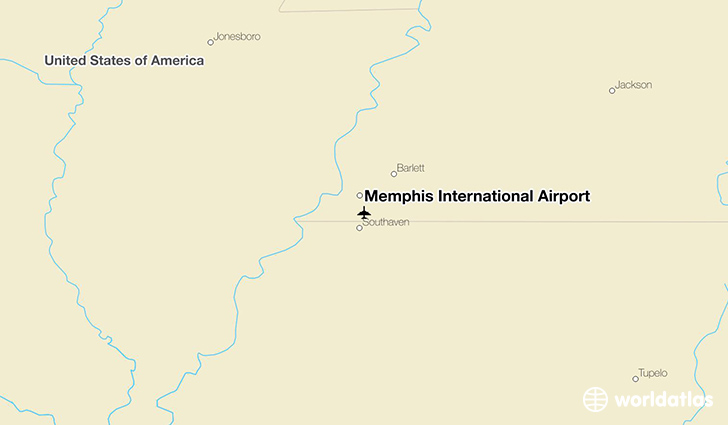 Memphis International Airport location on a map