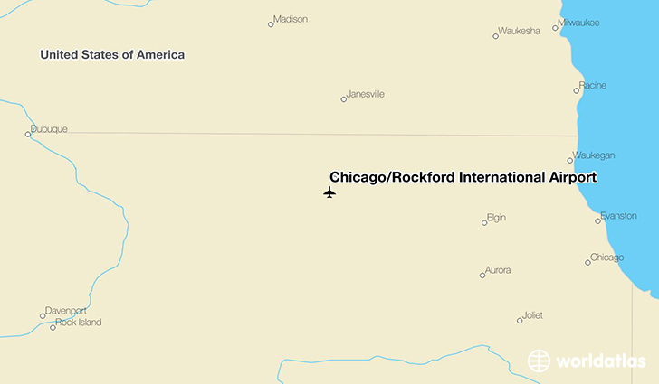 Chicago/Rockford International Airport location on a map