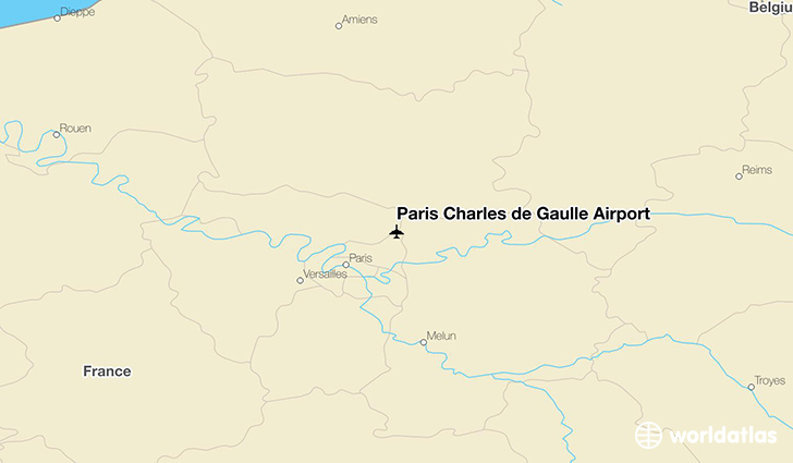 Paris Charles de Gaulle Airport location on a map