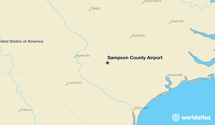 Sampson County Airport location on a map