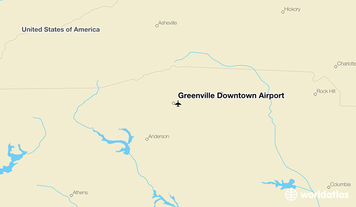 Greenville Downtown Airport location on a map
