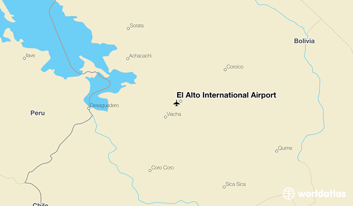 El Alto International Airport location on a map