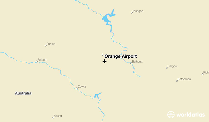 Orange Airport location on a map