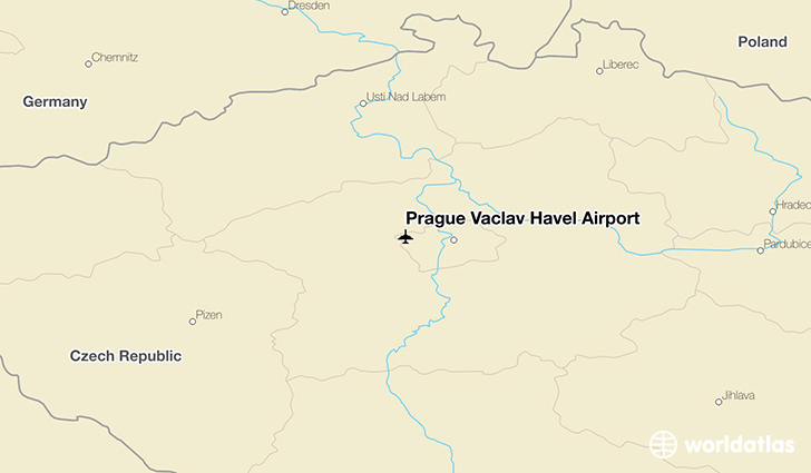 Prague Václav Havel Airport location on a map