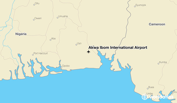 Akwa Ibom International Airport location on a map