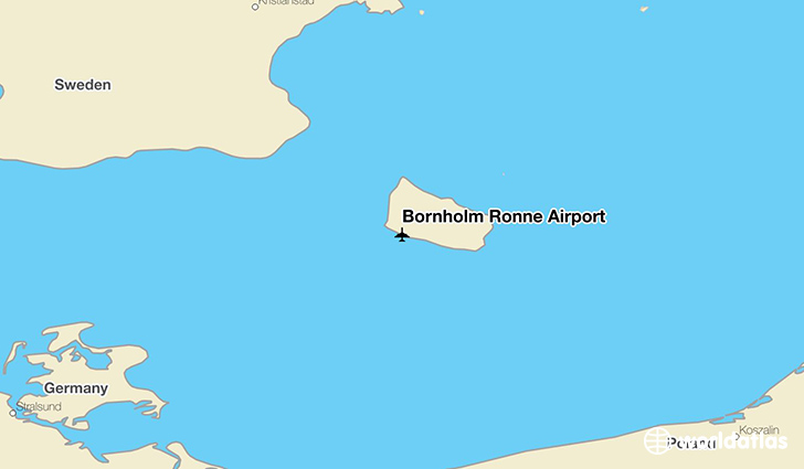 Bornholm Rønne Airport location on a map