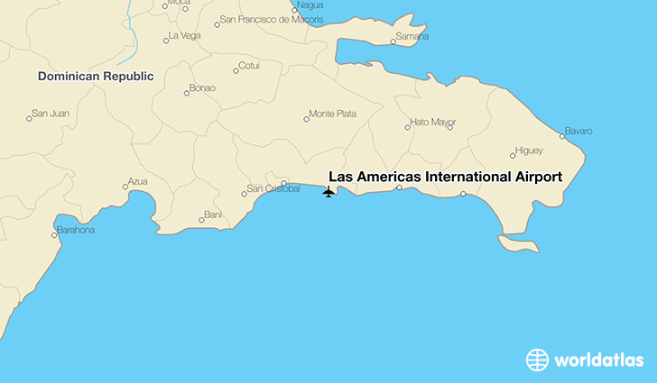 Las Américas International Airport location on a map