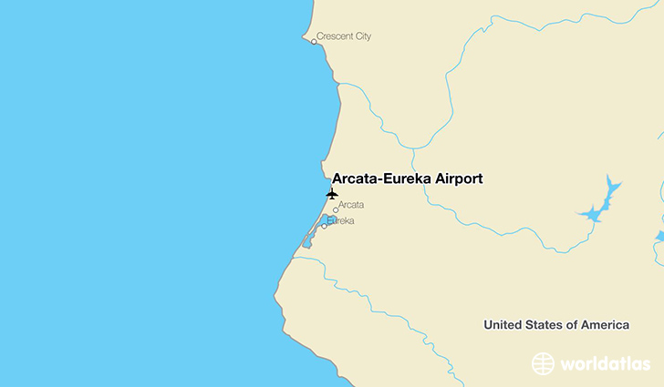 Arcata-Eureka Airport location on a map