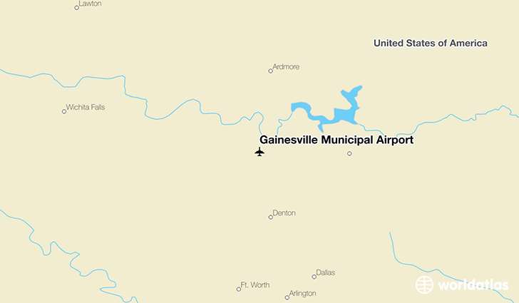 Gainesville Municipal Airport location on a map
