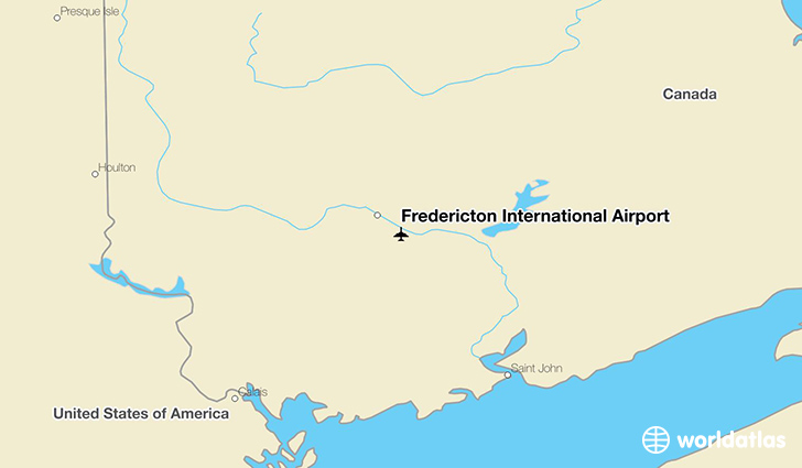 Fredericton International Airport location on a map