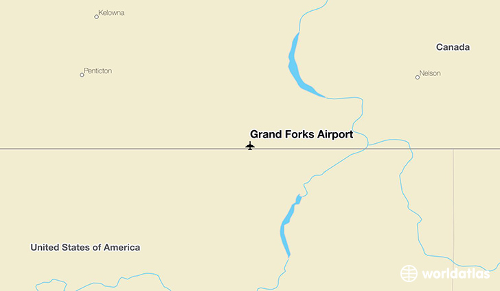 Grand Forks Airport location on a map
