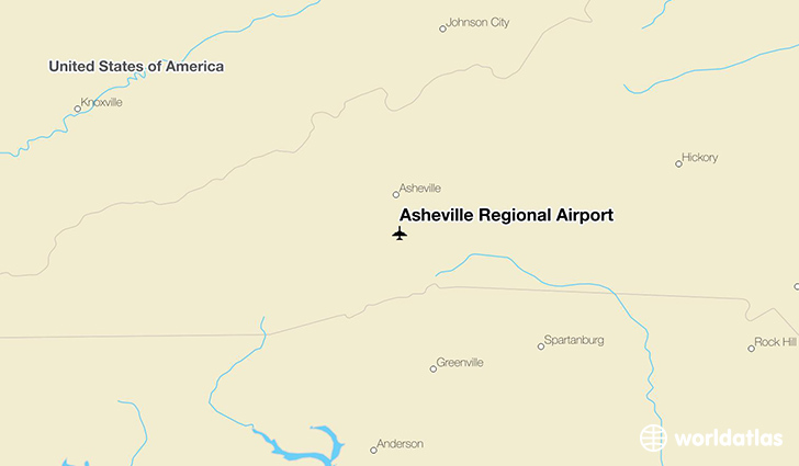 Asheville Regional Airport location on a map