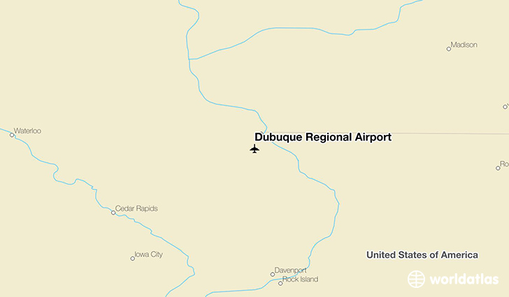Dubuque Regional Airport location on a map