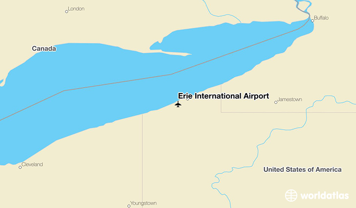 Erie International Airport location on a map