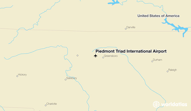 Piedmont Triad International Airport location on a map