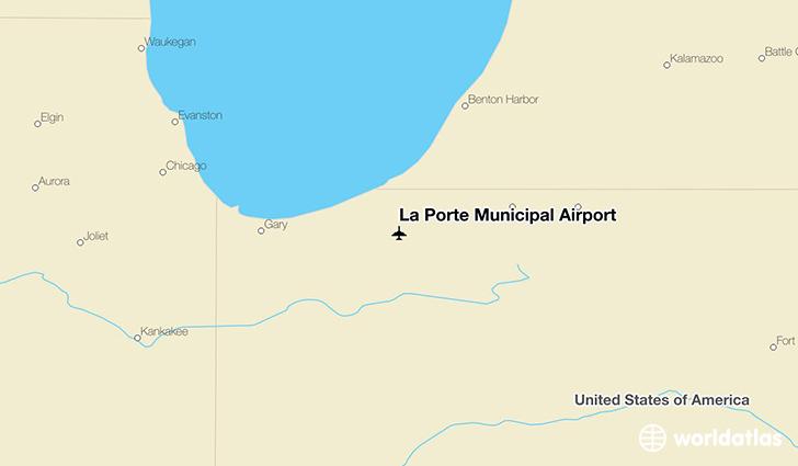 La porte municipal airport lpo worldatlas for La porte in time zone